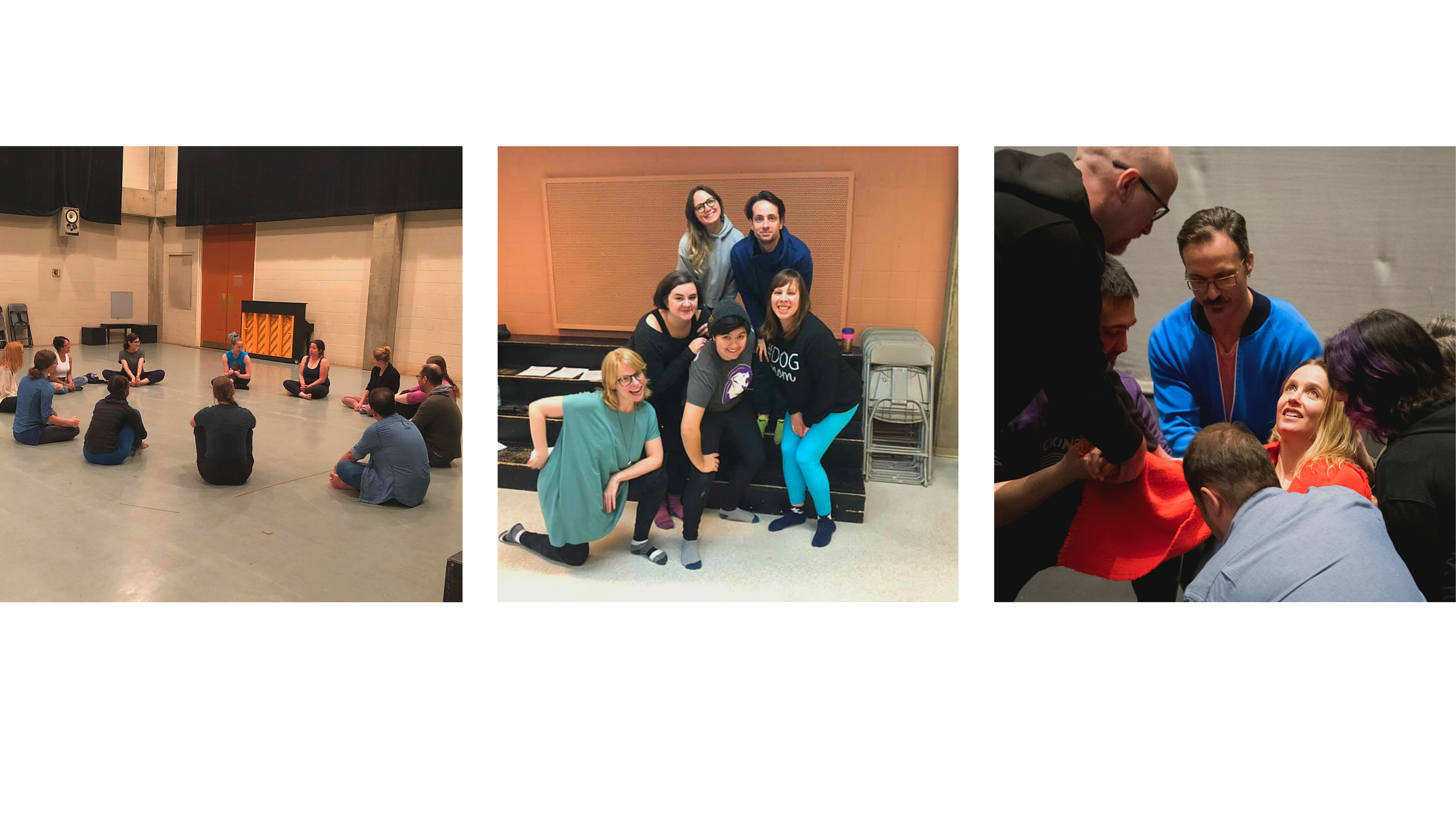 Three Pictures, in different rehearsal space, smiling groups of people. The first is a groupd of people sitting in a circle on floor. A smiling group of people posing for a pictures. A woman looking up being supported by a group of people.