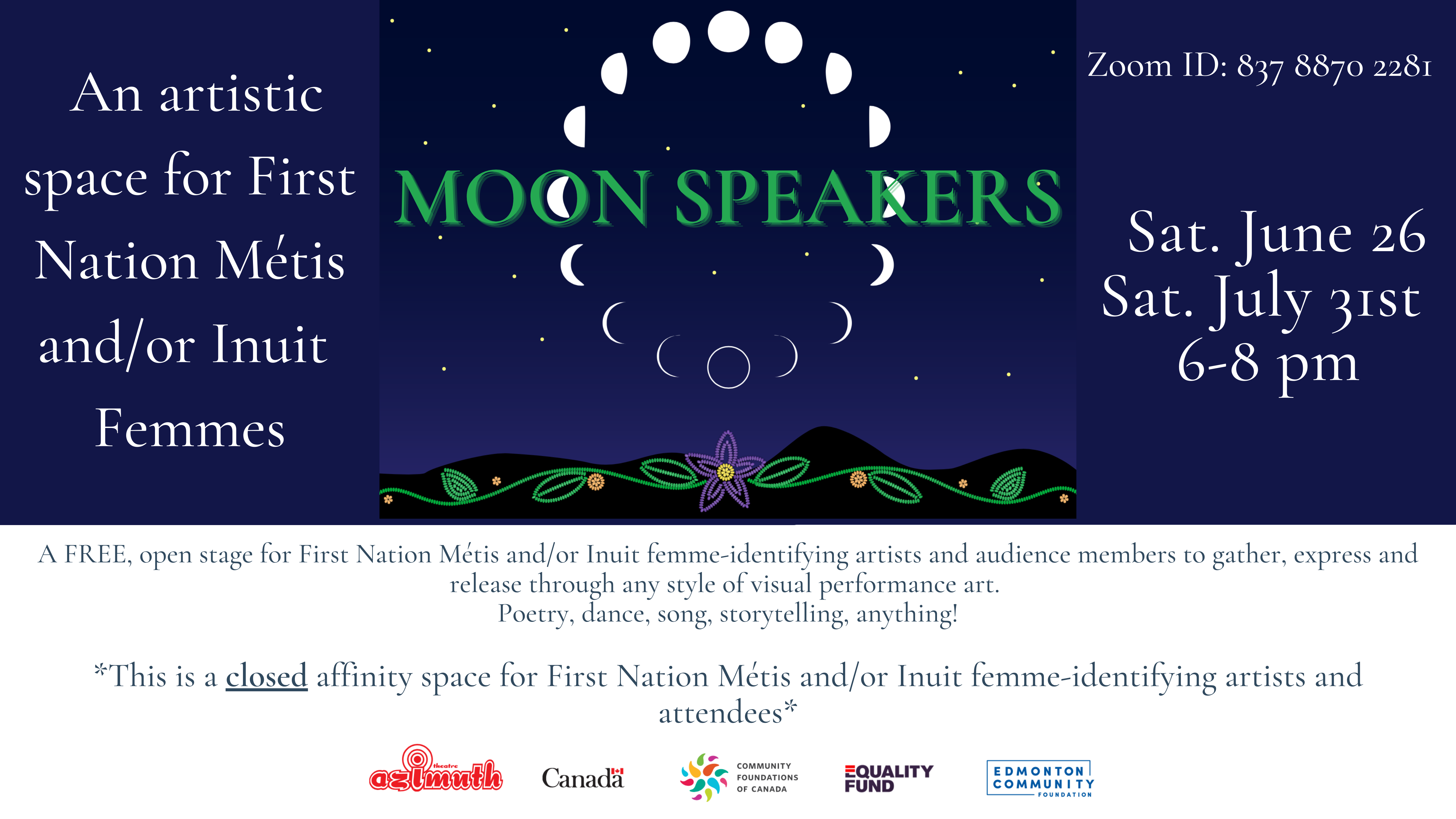 Illustrated phases of the moon in a circle, on a blue starry background, with beaded green leaves and a purple beaded flower on a black waved border on the bottom of the image, with the words Moon Speakers.